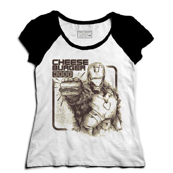 Camiseta Feminina Raglan O Poderoso Homem de Lata - Loja Nerd e Geek