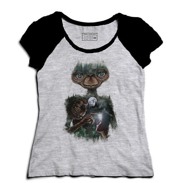 Camiseta Feminina Raglan Mescla ET O Extraterrestre - Loja Nerd e Geek
