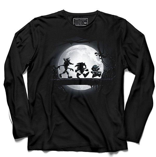 Camiseta Manga Longa Sonic e Super Plumber - Loja Nerd e Geek - Presentes Criativos