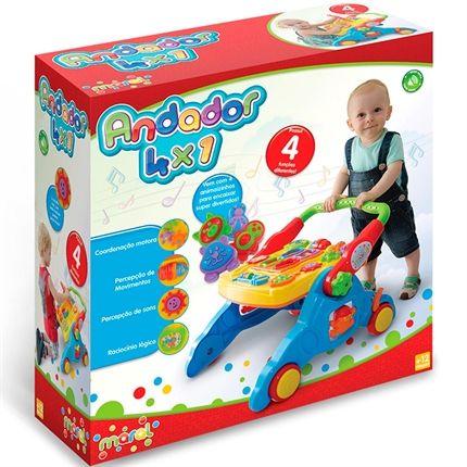 Andador 4x1 Para Bebê Maral 3001 Até 30kg Amarelo/azul