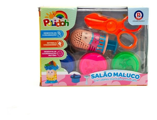 Salão Maluco Massinha Polidoh com Acessórios - Polibrinq