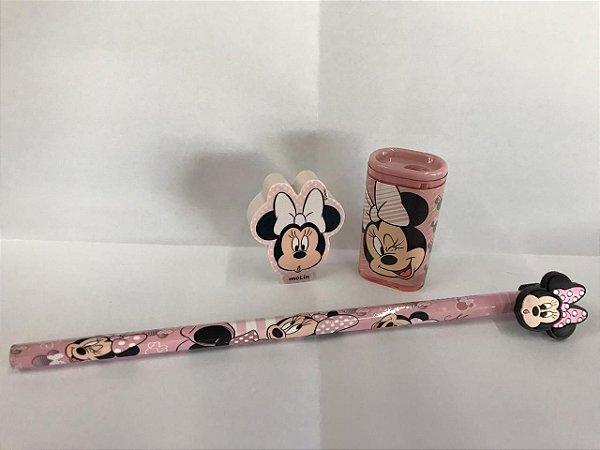Kit Escolar Minnie de Luxo com Apontador Borracha e Lápis com ponteira