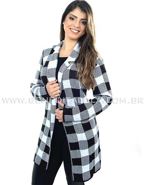 Maxi Cardigan Kimono Tricot Quadrados Inverno 2020 -SK 449