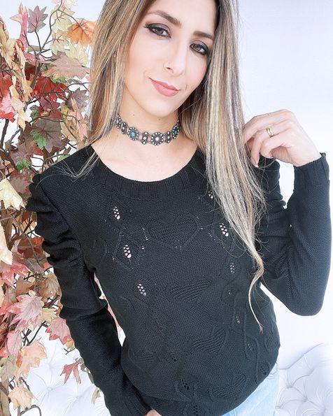 Blusa Tricot Princesa Corações  -JN