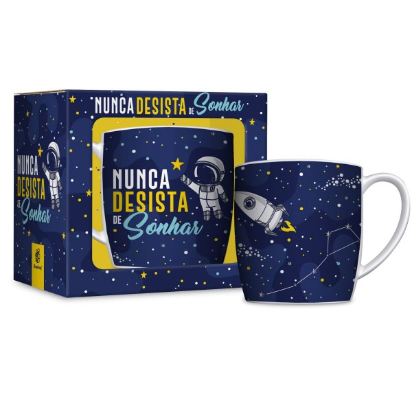 Caneca Porcelana Urban 360ml Brasfoot - Astronauta