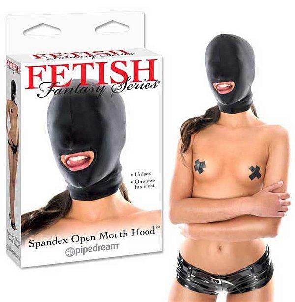 mascara Spandex Open Mouth Hood - Capuz Em Spandex Preto Com Abertura Na Boca