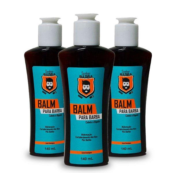 Combo 3x Balm Senhor Barba 140ml - Proteção térmica + Favorece Crescimento