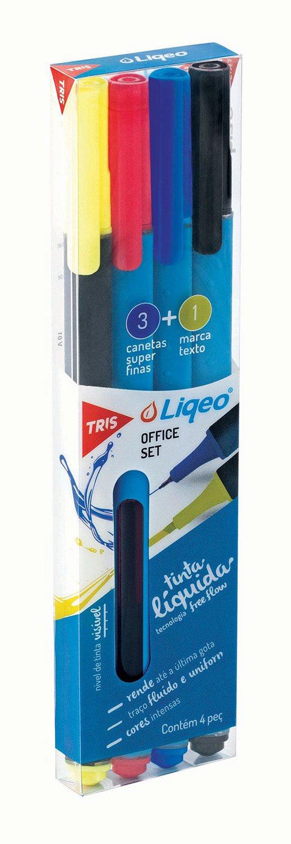 Caneta Hidrográfica 0.4mm Liqeo 3 Cores + Marca Texto - Tris