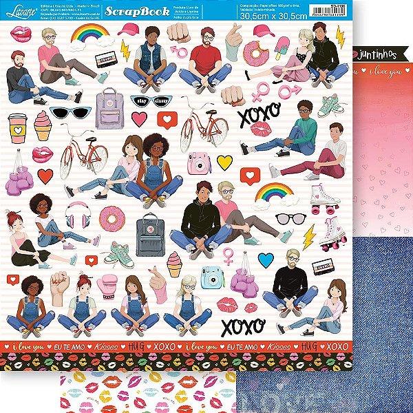Papel Para Scrapbook 30,5 Cm X 30,5 Cm - SD -1196 - COLEÇÃO TODA FORMA DE AMAR