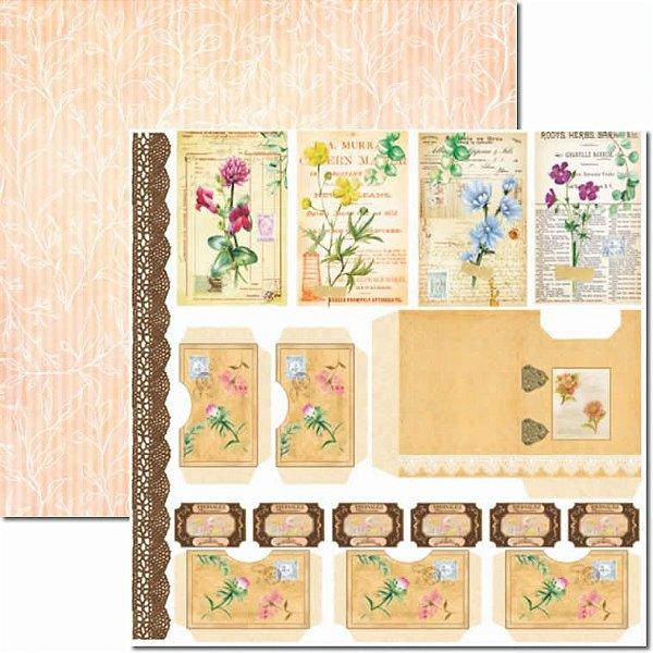 Papel para Scrapbook Arte Fácil Dupla Face - SC-665 - Botânica 11