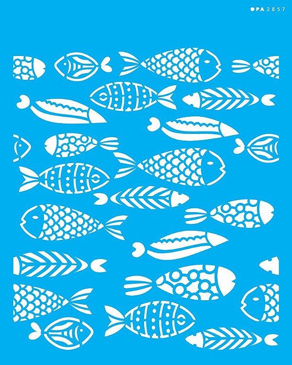 Stencil 20x25 Estamparia Peixes - OPA 2857