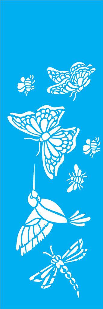 Stencil 10X30 Borboleta, Pássaro e Abelhas - OPA 1463