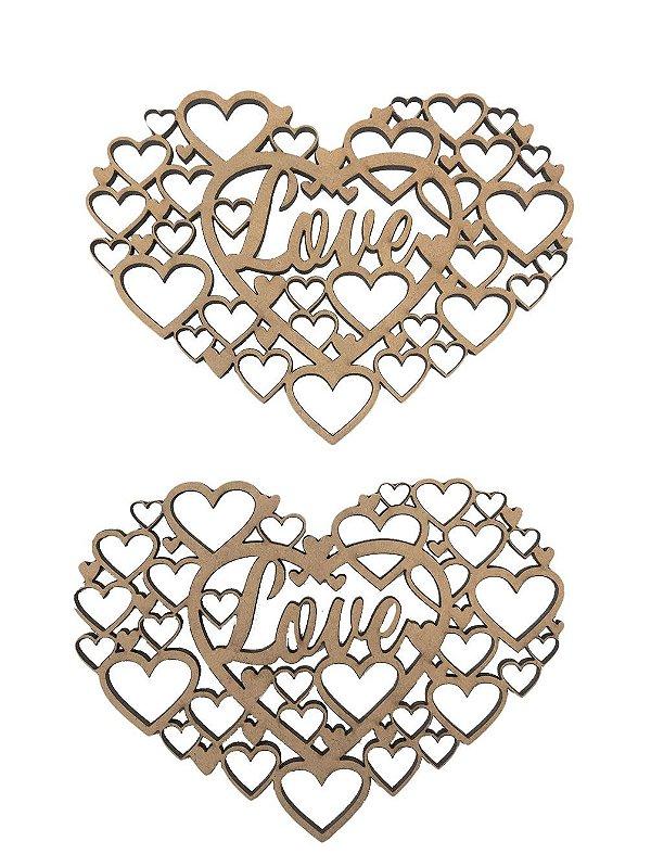 Aplique Laser MDF - Colméia Coração Moldura Love 2 Un 10 cm