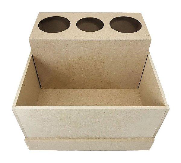 Caixa Porta Secador C/ 3 Compartimentos e Gaveta Liso Em MDF