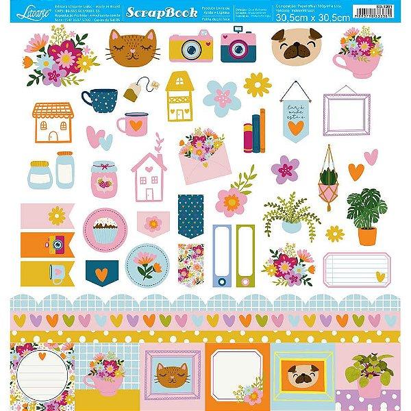 Papel Para Scrapbook 30,5 Cm X 30,5 Cm - Coleção Dias Melhores SD-1201