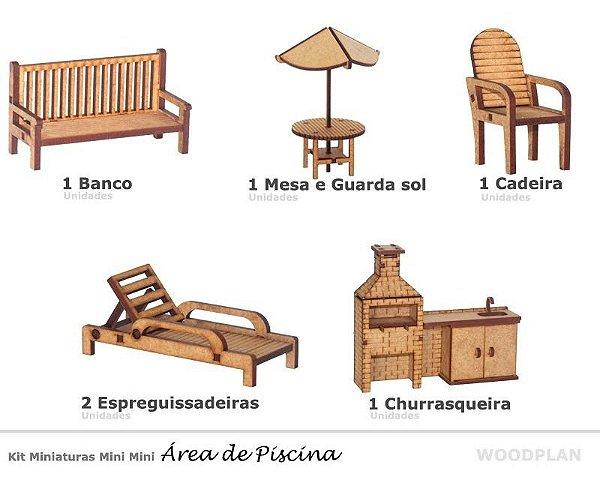 Kit Miniatura Área De Piscina Com 6 Peças Mdf Churrasqueira
