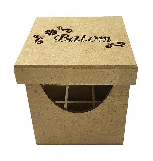 Porta Batom Caixa Quadrada Mdf Cru Com Divisória 9 Batons