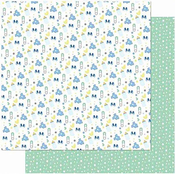 Papel Para Scrapbook Dupla Face 30,5 cm x 30,5 cm – Joaninha, Mamadeira, Sapatinho Masc. SD-987