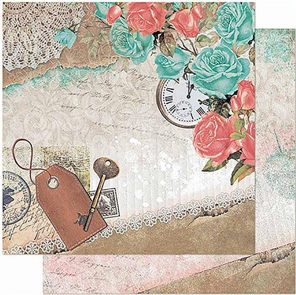 Papel Para Scrapbook Dupla Face 30,5 Cm X 30,5 Cm -  Rosas Azuis E Rosas, Relógio SD-944