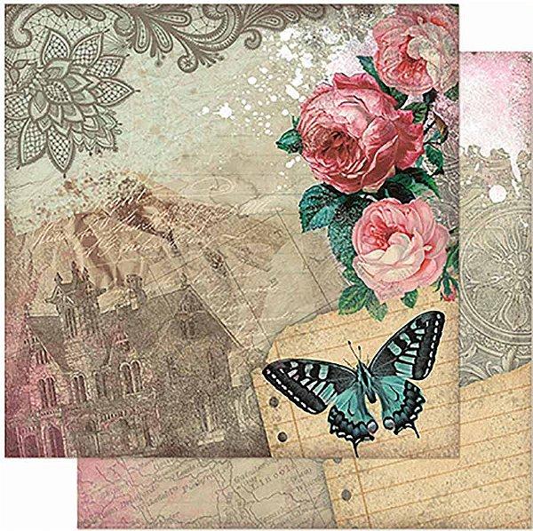 Papel Para Scrapbook Dupla Face 30,5 Cm X 30,5 Cm – Rosas Vintage E Borboletas SD-936
