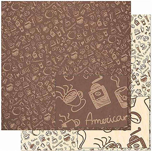 Papel Para Scrapbook Dupla Face 30,5 Cm X 30,5 Cm – Estampa De Elementos De Café SD-927