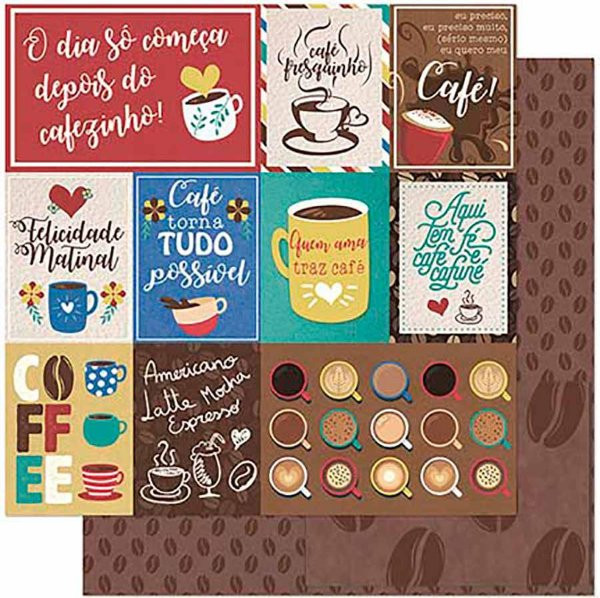 Papel Para Scrapbook Dupla Face 30,5 Cm X 30,5 Cm – Tags E Frases De Café SD-926