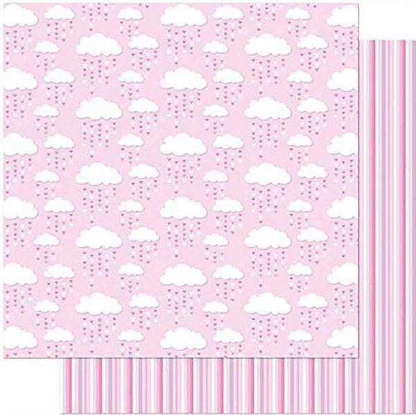 Papel Para Scrapbook Dupla Face 30,5 Cm X 30,5 Cm- Nuvens C/Chuva De Corações SD-919