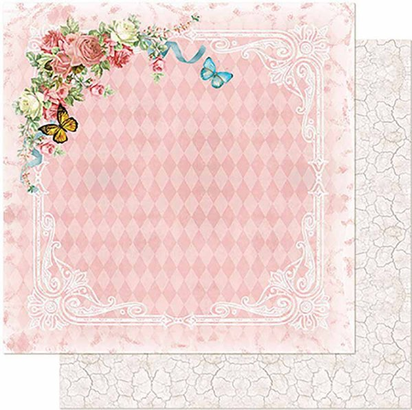 Papel Para Scrapbook Dupla Face 30,5 cm x 30,5 cm - Flores E Borboletas, Fundo Rosa SD-962