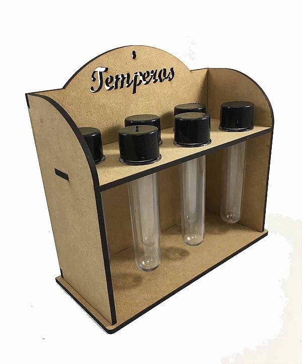 Porta Tempero Mdf 6 Tubetes Acrílico Mesa Cozinha Condimento