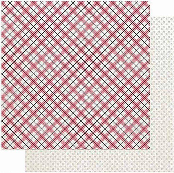 Papel Para Scrapbook Dupla Face 30,5 cm x 30,5 cm – Amor Love Story Xadrez-Verso Poá SD-1015