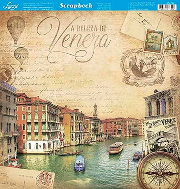 Papel Para Scrapbook Dupla Face 30,5 Cm X 30,5 Cm- Veneza – Itália Vintage SD-792
