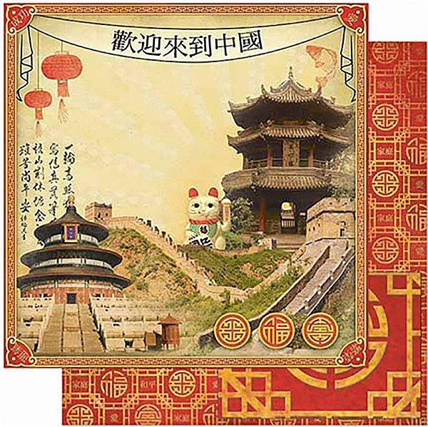 Papel Para Scrapbook Dupla Face 30,5 Cm X 30,5 Cm- China Vintage SD-794