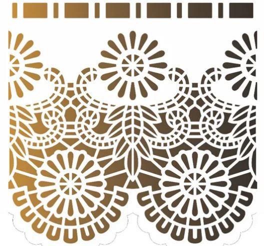Stencil de Acetato para Pintura OPA Simples  15 X 20 cm - Negativo Renda I 2576