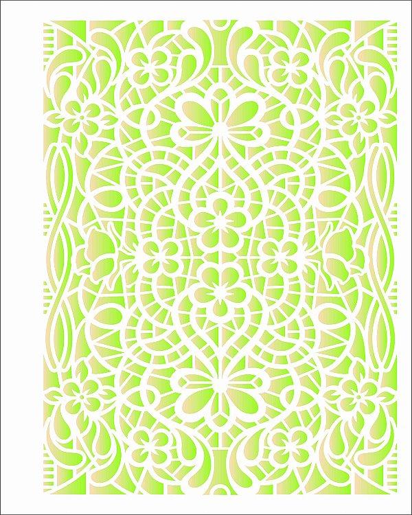 Stencil de Acetato para Pintura OPA Simples  20 X 25 CM - Renda Primavera 2636
