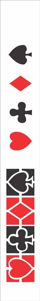 Stencil de Acetato para Pintura OPA Simples  4 x 30 cm - Naipes 073