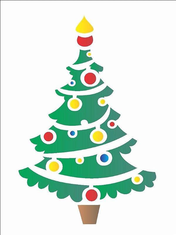 Stencil de Acetato para Pintura OPA 15×20 Simples – Árvore e Bolas II – OPA 2114