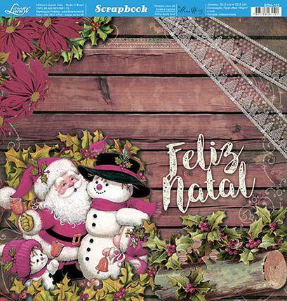 Papel Para Scrapbook Dupla Face 30,5 cm x 30,5 cm - SDN-102 - Scrap Duplo Natal - Noel Vintage