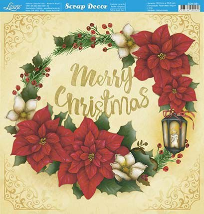 Papel Para Scrapbook Dupla Face 30,5 cm x 30,5 cm - SDN-081 - Scrap Duplo Natal - Poinsétias E Luminárias