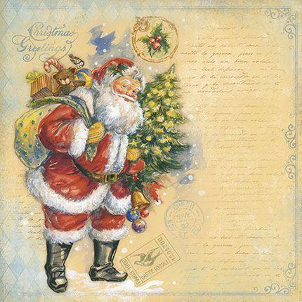 Papel Para Scrapbook Dupla Face 30,5 cm x 30,5 cm - SDN-071 - Scrap Duplo Natal - Papai Noel,Arvore