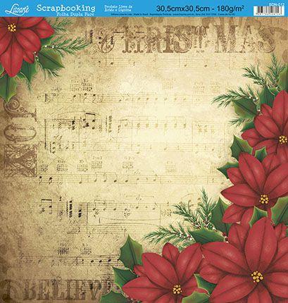Papel Para Scrapbook Dupla Face 30,5 cm x 30,5 cm - SDN-012 - Scrap Duplo Natal - Poinsétias Vermelhas