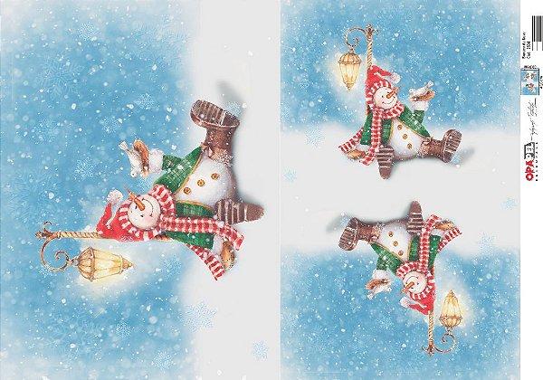 Papel para Decoupage de Natal OPAPEL 30X45 Boneco de Neve – 2534
