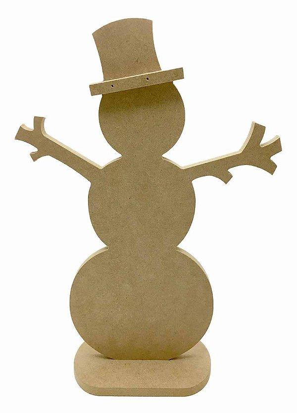 Boneco de Neve MDF Com Base G - 50 cm Decoração Natal