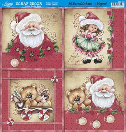 Papel Para Scrapbook Dupla Face 30,5 cm x 30,5 cm - SDN-064 - Scrap Duplo Natal - Noel, Menina, Urso/Poa Vermelho
