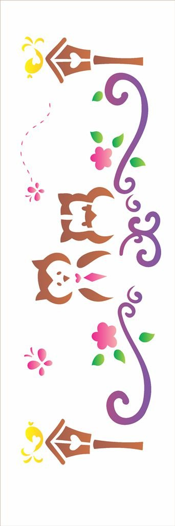 Stencil 110×30 Simples – Corujas no Jardim – OPA 1206
