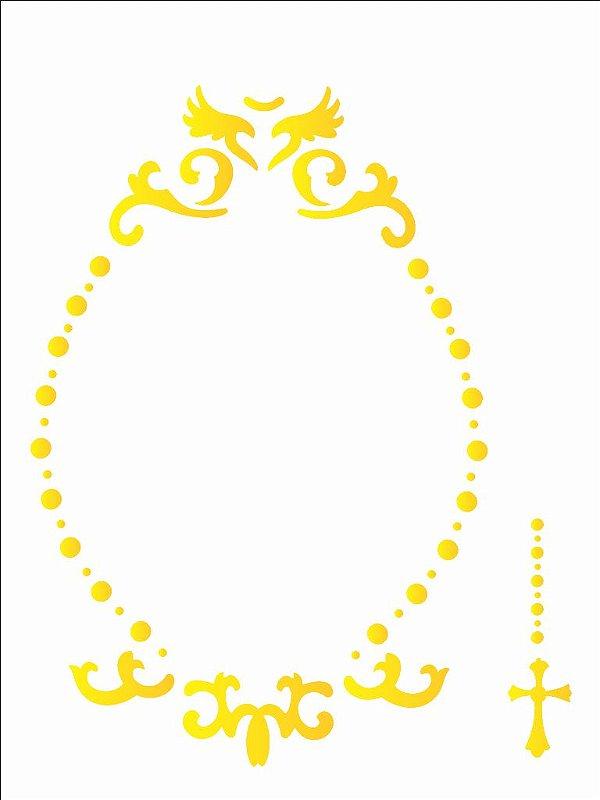 Stencil 15×20 Simples – Religião Moldura Celestial – OPA 2175