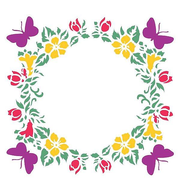Stencil 30,5×30,5 Simples – Borboletas e Florais – OPA 2294
