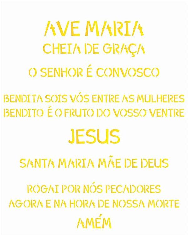 Stencil 20×25 Simples – Religião Oração Ave Maria – OPA 2193