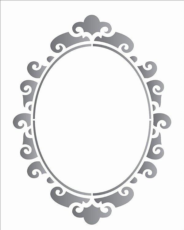 Stencil 20X25 Simples – Moldura Oval II – OPA 1886