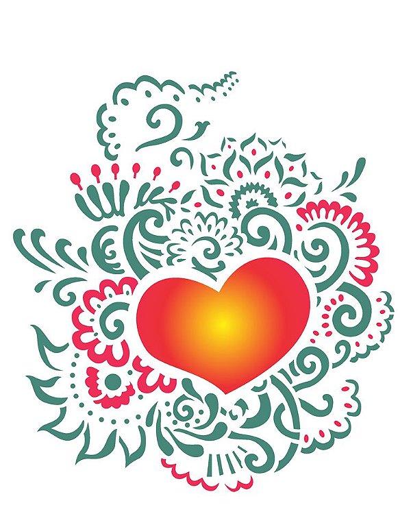 Stencil 20×25 Simples – Coração Ornamento – OPA 2265