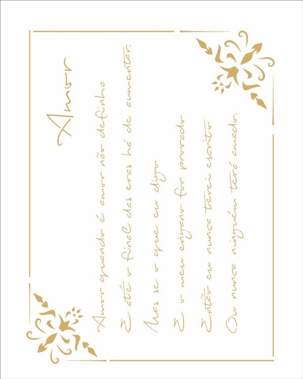 Stencil 20×25 Simples – Poema Amor – OPA 2448